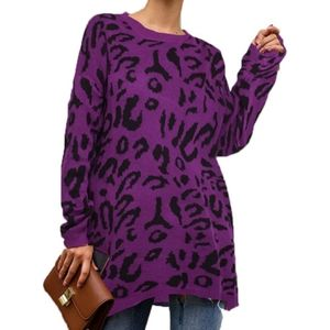 Oversized Casual Leopard Print Long Sleeve Sweater